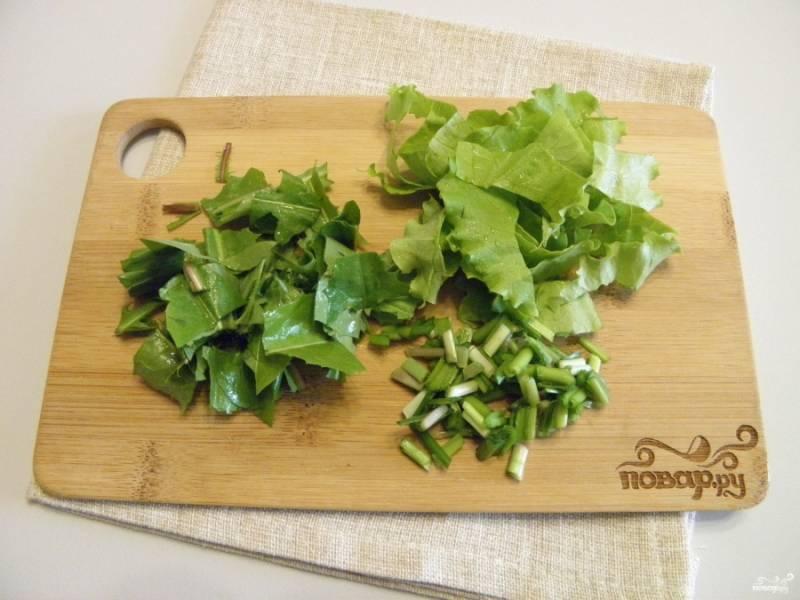 Всю зелень порежьте не крупно (в том числе и листья одуванчика).