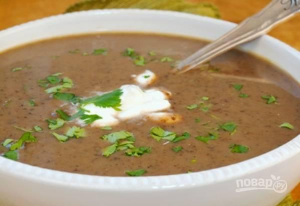 Подавайте суп со сметаной и кинзой. Приятного аппетита!