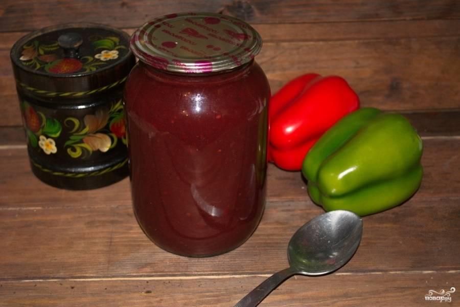 Вот великолепный соус и готов. Вы сможете им полакомится даже зимой, когда слив уже нет.