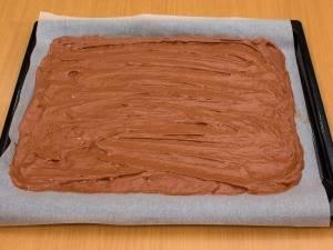 Противень (я использовала противень размером 30×35 см) смазать маслом или застелить бумагой для выпечки. Выложить тесто, разровнять.