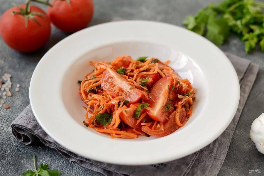 Помидоры с морковью по-корейски готовы, приятного вам аппетита!