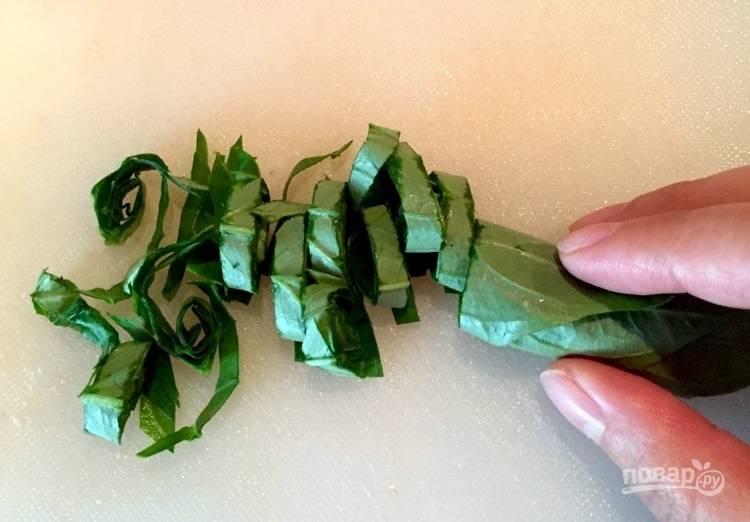3.Промойте базилик, скрутите несколько листов и порежьте.