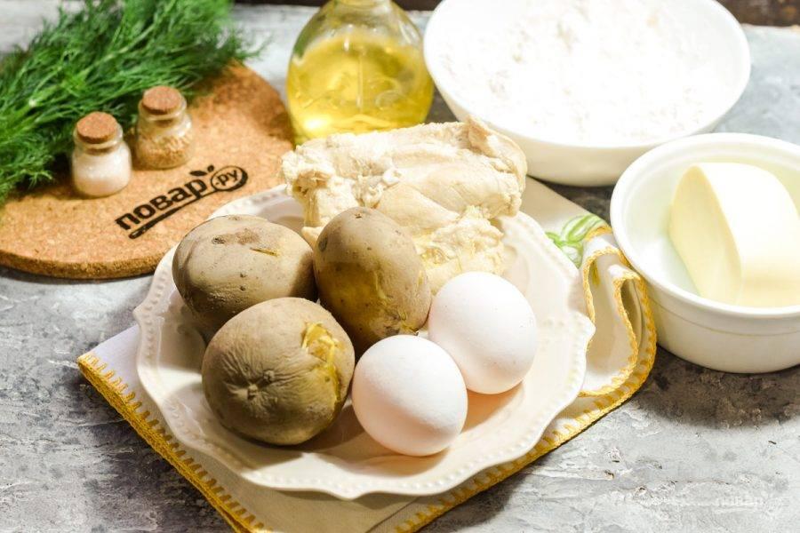 Подготовьте ингредиенты. Картофель заранее отварите в мундире до готовности.