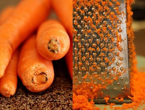 2. Вымыть и очистить морковь. Натереть на мелкой или средней терке.