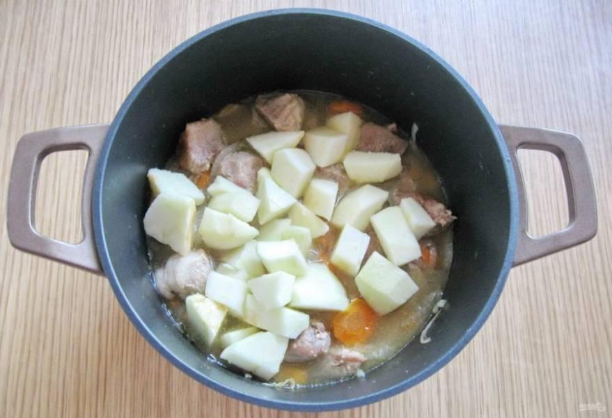 Одно крупное или два небольших зеленых яблока очистите, помойте и нарежьте кубиками. Добавьте в кастрюлю к свинине.