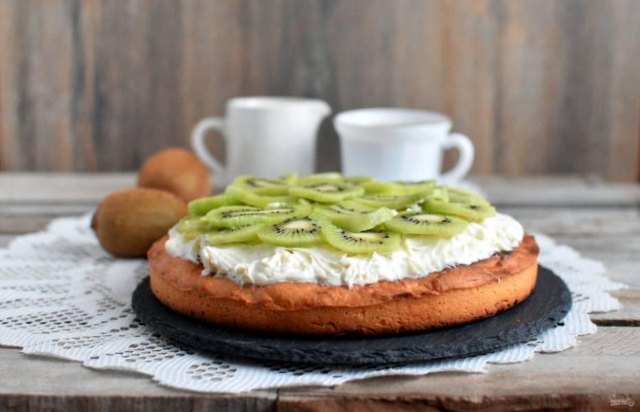 Сверху разложите нарезанные кружочками киви. При желании можно залить пирог сверху желе.