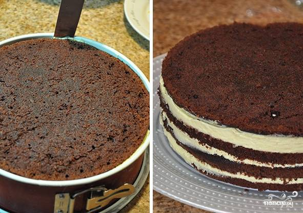 Спустя положенное время достаем торт из холодильника и формы, можно теперь его украсить.