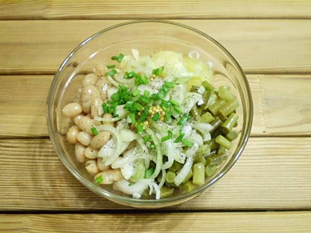 6. Добавить соль, перец черный, зелень рубленную, горчицу и масло оливковое.