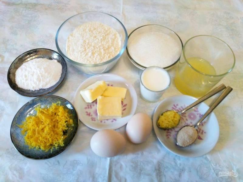 Подготовьте перечисленные ингредиенты с учётом того, что для получения указанного количества лимонного сока потребуется 1 лимон среднего размера.