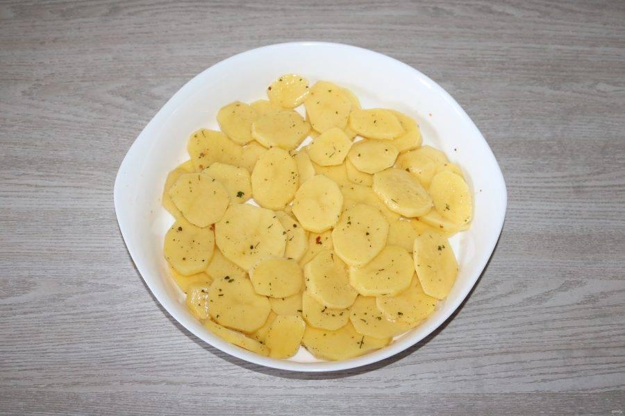 В форму для запекания выложите половину картофеля.
