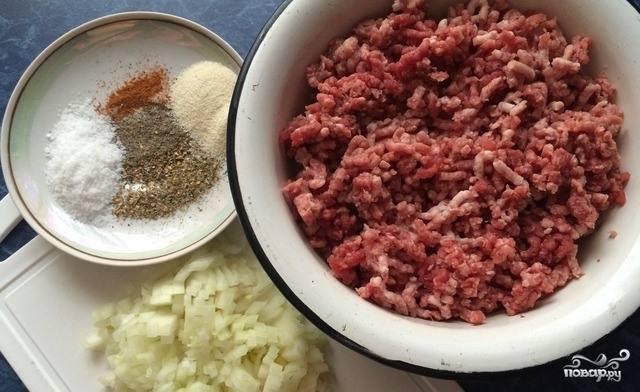 Лучок очистите и мелко нарубите острым ножом. Затем подготовьте все необходимые специи. Смешайте все перечисленные ингредиенты с фаршем, который следует купить или приготовить самостоятельно. Хорошенько все перемешайте.