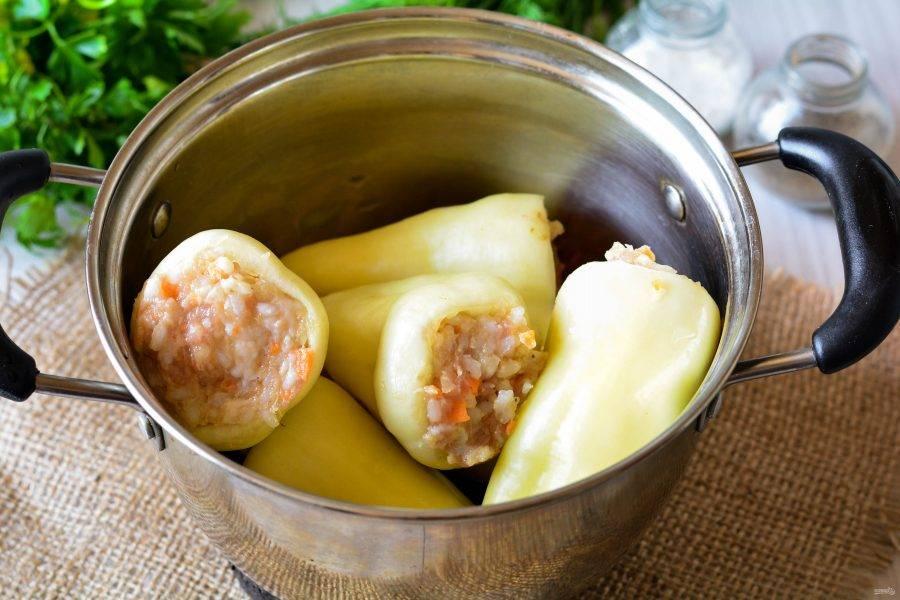 Перец наполните начинкой. Затем на дно кастрюли налейте немного масла, сложите фаршированные перцы.