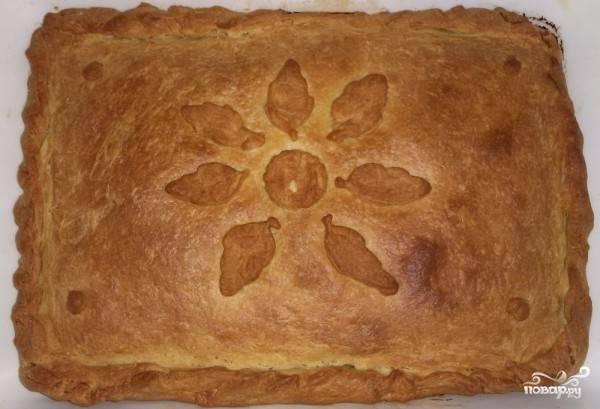 Выпекайте пирог в духовке при температуре 200 градусов. Время приготовления составляет около 40 минут. Когда вы увидете золотистую корочку на пироге - его можно отключать. Подавать пирог можно и горячим, и холодным.