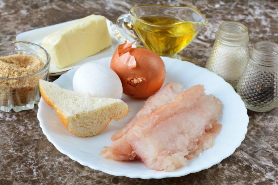 Подготовьте ингредиенты для приготовления рыбных котлеты как в детском саду.