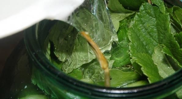3. В отдельной миске смешаем соль и воду. Хорошо перемешаем, чтобы соль растворилась. Заливаем в банку рассол и закрываем стерильными крышками.
