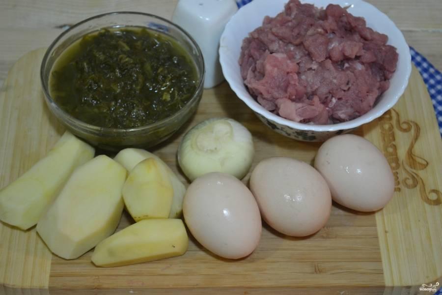 Для начала подготовим все необходимые для приготовления супа щавелевого с фрикадельками ингредиенты.