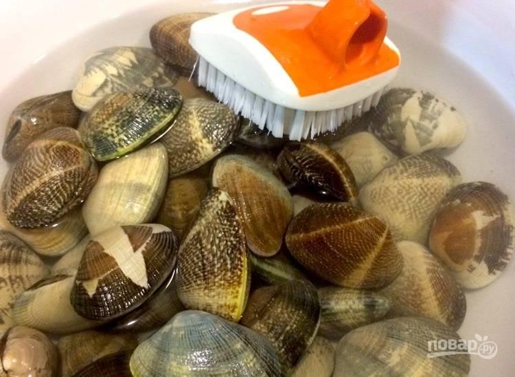 1.Почистите моллюски щеткой и положите в миску с холодной водой, оставьте их так на время подготовки других ингредиентов, смените воду 1-2 раза, особенно если она начнет мутнеть.