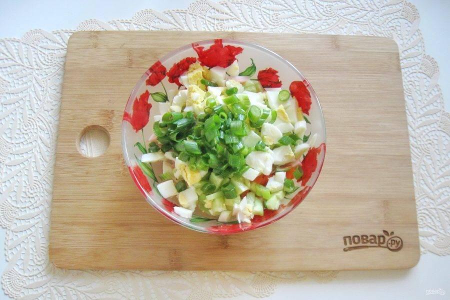 Зеленый лук помойте, мелко нарежьте, выложите в салатник.