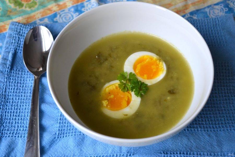 3.Отлейте немного супа в чашку и смешайте со сметаной, затем перелейте обратно в кастрюлю и прогрейте пару минут, снимите кастрюлю с огня и остудите суп. Подавайте его с отварными яйцами и зеленью, приятного аппетита!