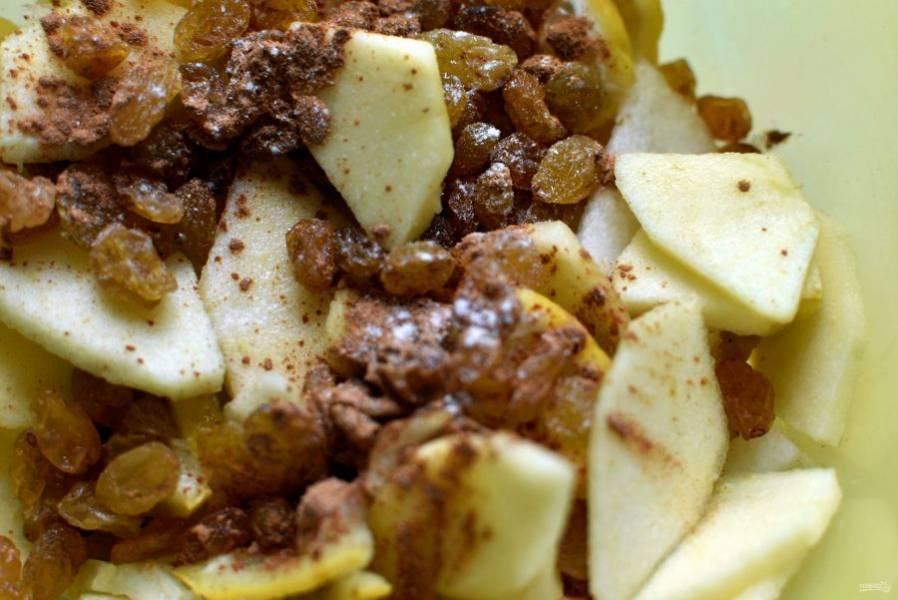 Нарежьте  очищенные яблоко и грушу на тонкие ломтики.  Изюм промойте и залейте коньяком. Подогрейте в микроволновке минуту, чтобы коньяк впитался в изюм. Натрите цедру с половинки лимона, выжмите ложку сока и побрызгайте им фрукты. Перемешайте фрукты с цедрой и изюмом, добавьте щепотку корицы.