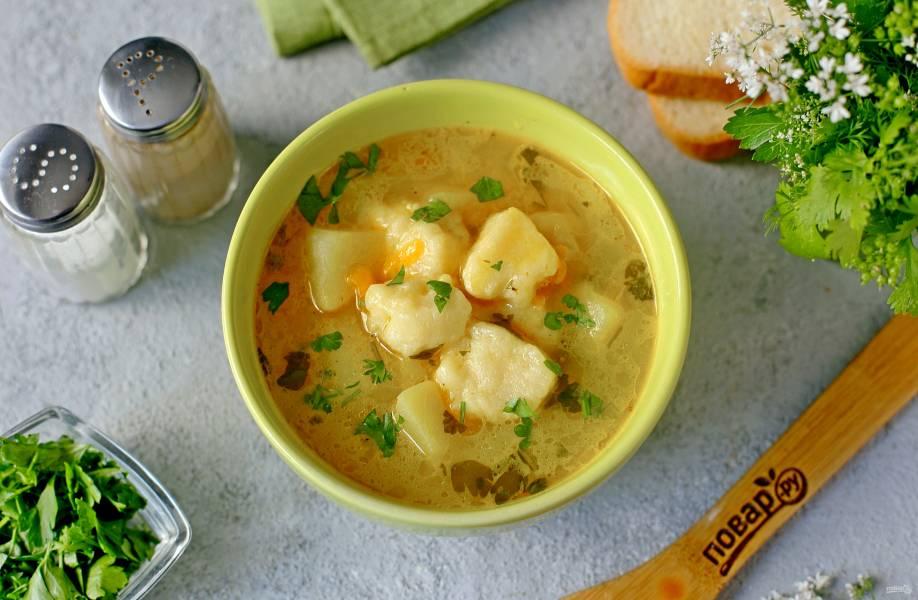Суп с творожными клецками