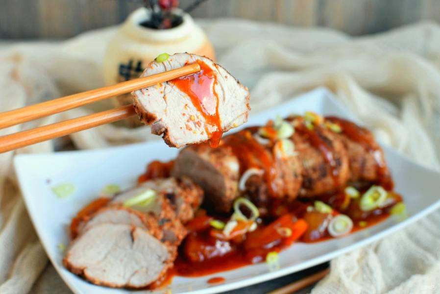 Свиная вырезка по-азиатски с кисло-сладким соусом