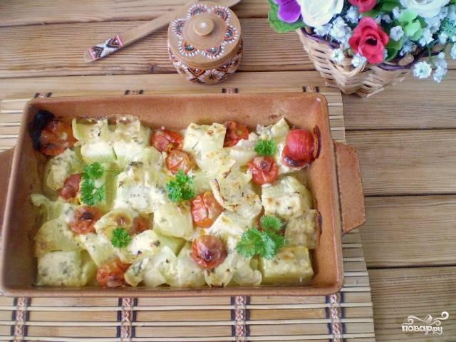 Овощи в духовке под соусом