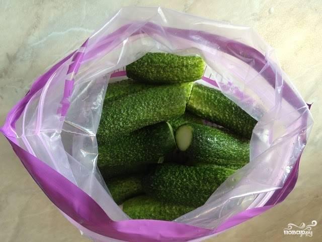 """Тщательно промойте огурчики, обрежьте у них """"попки"""", поместите овощи в чистый пакет с застежкой."""