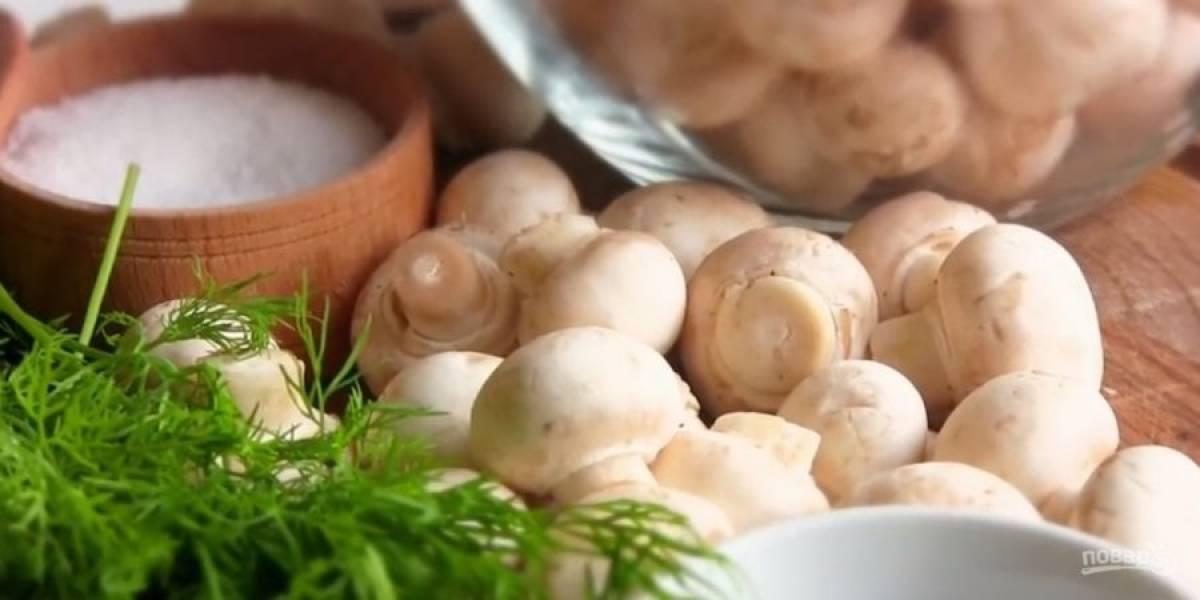 1. Шампиньоны одинакового размера (мелкие) промойте и просушите. Нарежьте укроп небольшими веточками, а чеснок – пластинками. В чистую банку выложите грибы, укроп и немного чеснока.