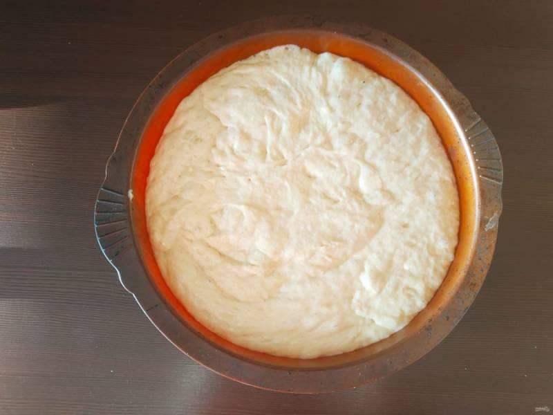 Отправьте тесто в разогретую до 160 градусов духовку на 40-50 минут. Готовность проверьте деревянной палочкой, если сухая, пирог готов.