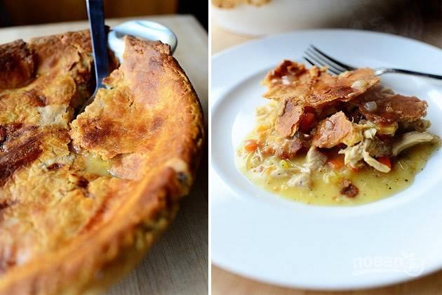 Пирог в горшочке с курицей и овощами