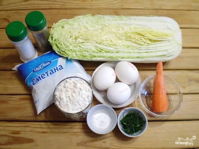 Подготовьте продукты для пирога. Из данного количества продуктов получится один маленький пирог.