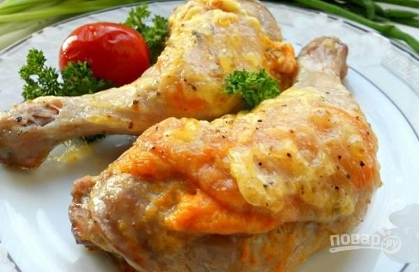 Куриные окорочка, запеченные с сыром