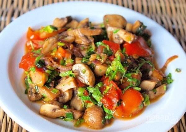 Теплый салат с грибами (уникальный рецепт)