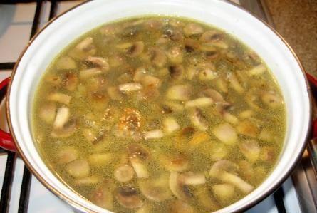 В кастрюлю кладем лук, морковь и грибы. Доводим до кипения и варим еще 5 минут, снимаем суп с плиты. Даем ему настояться 20 минут.
