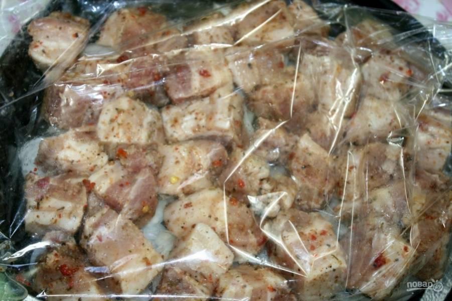 Поверх лука выложите мясо. Духовку разогрейте до двухсот пятидесяти градусов. Запекайте шашлык пятьдесят минут, а затем разрежьте пакет и снова запекайте полчаса, пока мясо не зарумянится.