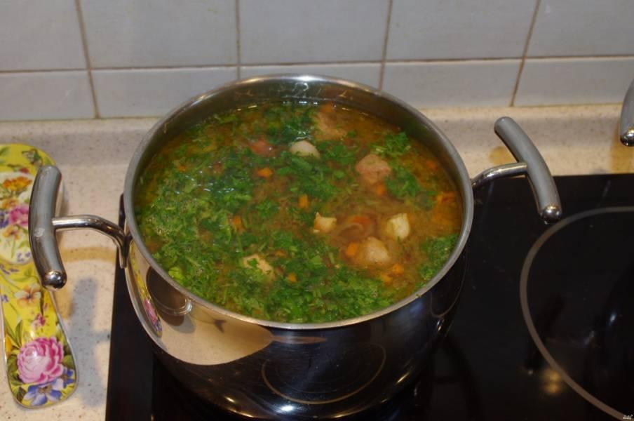 Варите суп около получаса. Тем временем измельчите зелень. За 5 минут до окончания готовки всыпьте зелень в суп и хорошо всё перемешайте.