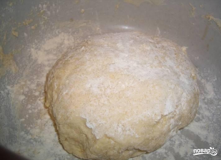 2.Вымешиваю тесто, если нужно подсыпаю муку. Накрываю тесто полотенцем и оставляю на два часа в теплом месте.
