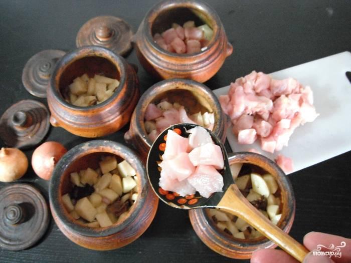 Заполнить горшочки примерно на половину овощами и грибами, на них выложить курицу. Влить в каждый немного сметаны и по паре ложек воды, посолить, поперчить, закрыть крышками и отправить в духовку на час. Температура - 180С.