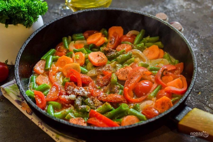 В конце приготовления добавьте специи по вкусу, перемешайте и прогрейте минуту.