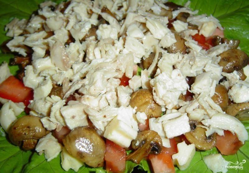 5. Далее на помидоры и сыр выложите половину грибов и всю нарезанную куриную грудку. Сверху равномерно распределите майонез. Салат складывайте как бы слоями, не перемешивая.