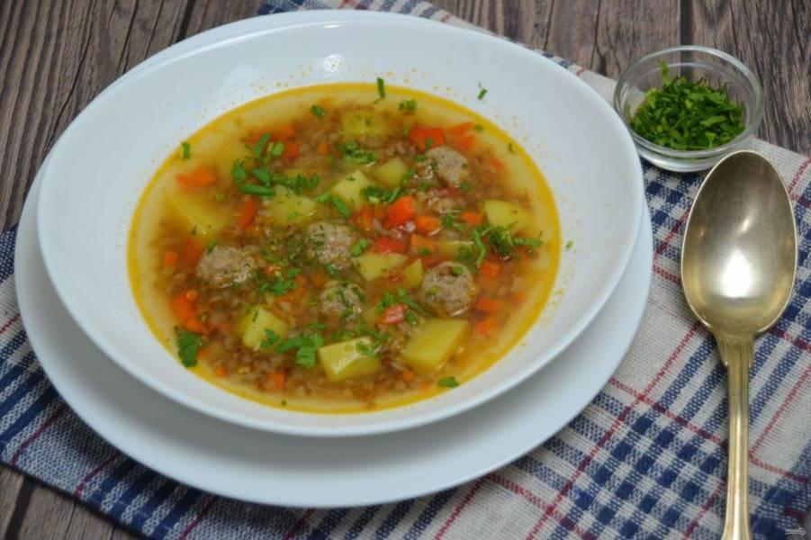 Подавайте суп с зеленью. Он вкусный, ароматный, легкий для пищеварения и достаточно сытный. Приятного аппетита!
