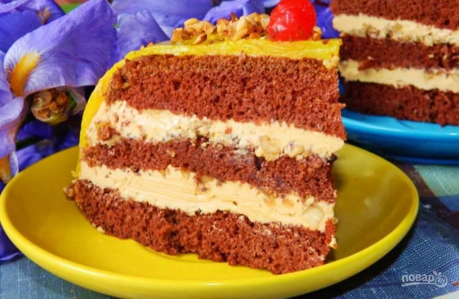Торт со сгущенкой и орехами