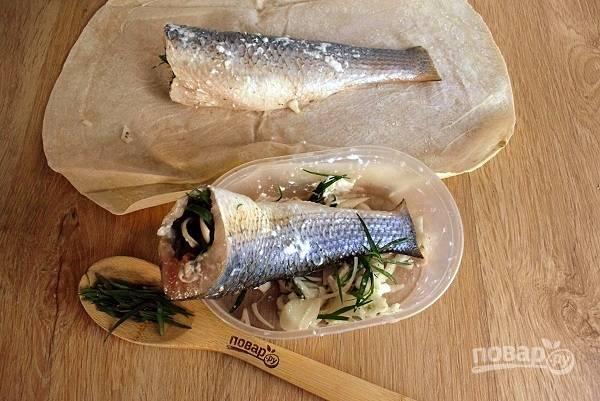 Филе рыбы натрите смесью соли и перца со всех сторон. Лук нарежьте крупными полукольцами, немного помните руками, чтобы выступил сок, и натрите им рыбу. Затем обмажьте ее сметаной или майонезом. Внутрь рыбки положите листья тархуна и лук.