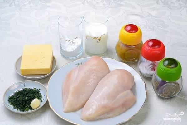 """1. Вот такой аппетитный набор ингредиентов вам будет необходим, чтобы сделать куриные """"растрепки"""" с сыром в домашних условиях."""
