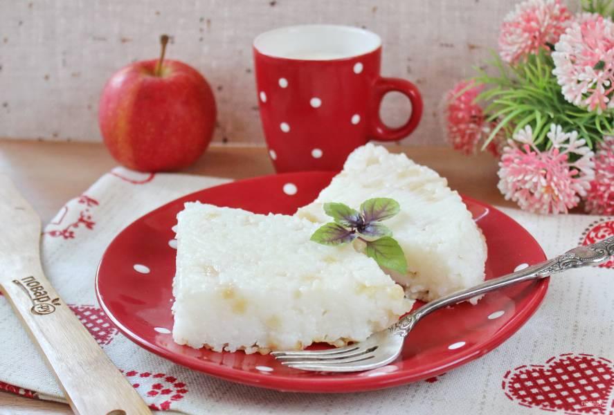 Рисовая запеканка с яблоком в мультиварке
