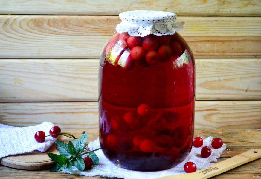 Компот из вишни на зиму (3 литра)