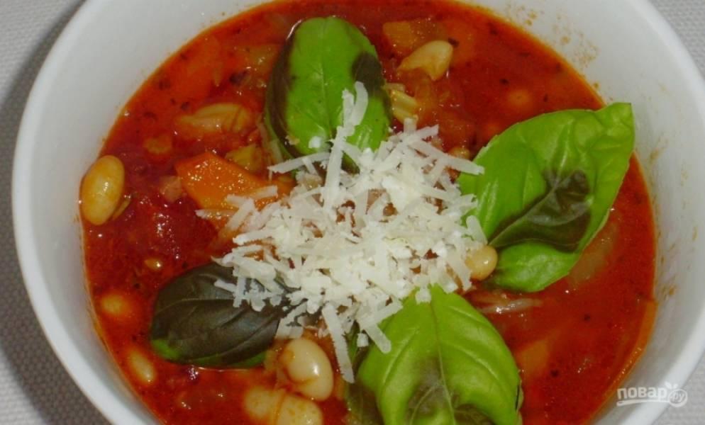 Готовый суп можете украсить пармезаном и базиликом. Приятного аппетита!