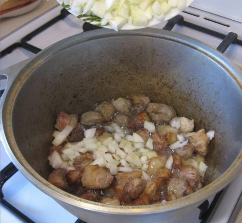 2. Вымыть, просушить и нарезать небольшими кусочками мясо. В кастрюлю с толстым дном или сотейник налить масла и хорошо его разогреть. Отправить туда мясо и обжарить до золотистой корочки. Затем отправить к мясу лук.