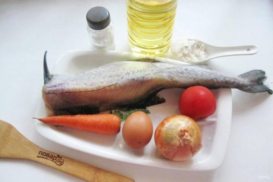 Подготовьте ингредиенты для приготовления минтая по-гречески.